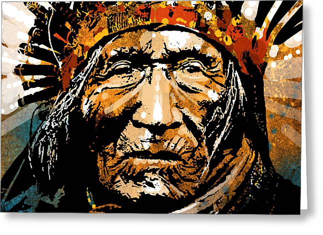 American Indian Portrait Greeting Cards - He Dog Greeting Card by Paul Sachtleben
