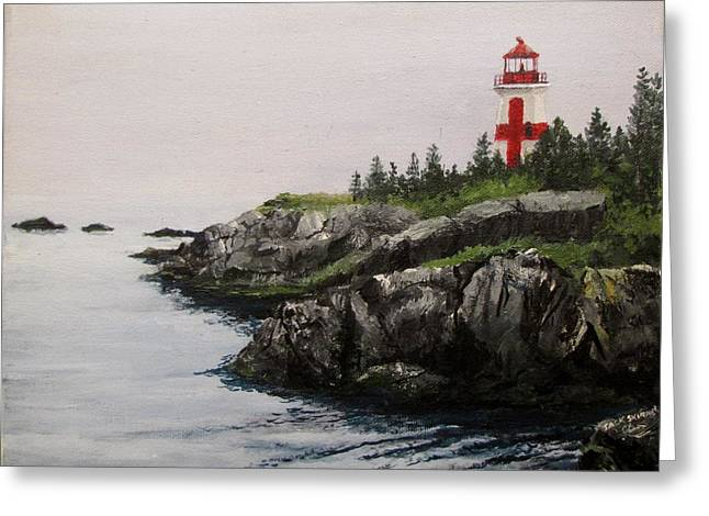 Head Harbour Lighthouse Greeting Card by Jack Skinner