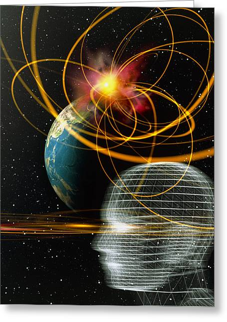 Movement Of Thought Greeting Cards - Head In Space Greeting Card by Mehau Kulyk
