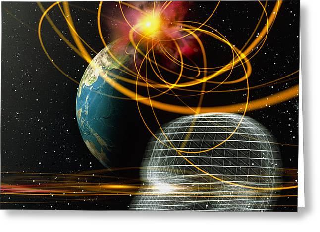Head In Space Greeting Card by Mehau Kulyk