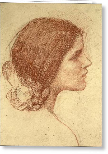Sketch Greeting Cards - Head of a Girl Greeting Card by John William Waterhouse
