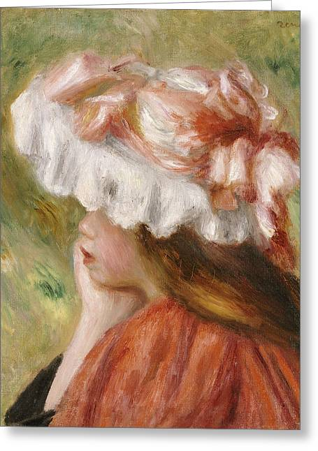 Chin On Hand Paintings Greeting Cards - Head of a Young Girl in a Red Hat  Greeting Card by Pierre Auguste Renoir