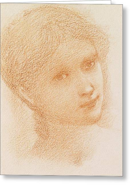 Face Of A Woman Greeting Cards - Head Study of a Girl Greeting Card by Sir Edward Burne-Jones