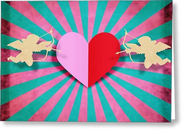 heart and cupid on paper texture Greeting Card by Setsiri Silapasuwanchai