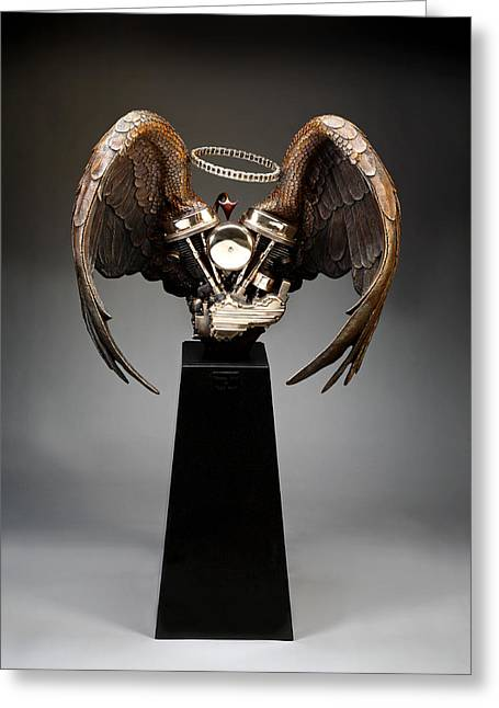 Motorcycles Sculptures Greeting Cards - Heaven Sent Hell Bent Greeting Card by Mark Patrick