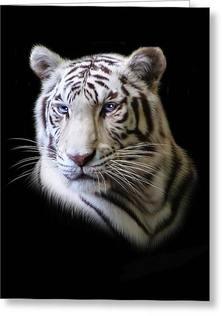 Tiger Digital Art Greeting Cards - Hector Greeting Card by Julie L Hoddinott