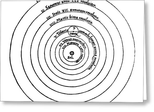 Heavenly Body Greeting Cards - Heliocentric Universe, Copernicus, 1543 Greeting Card by Science Source