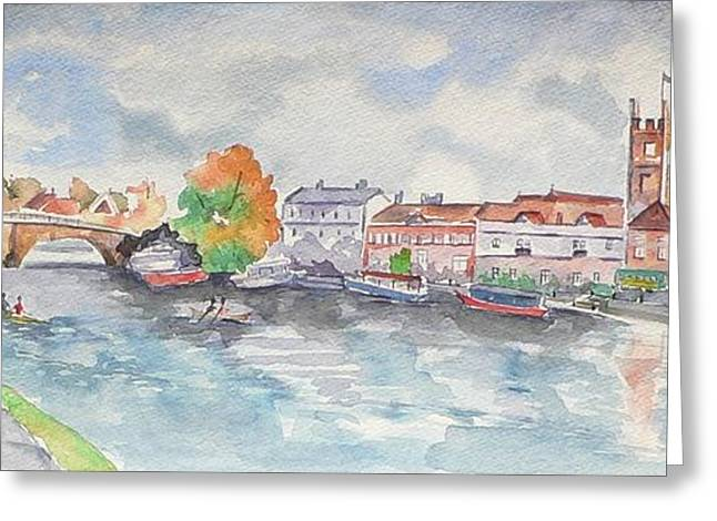 Boats On Water Greeting Cards - Henley on Thames Greeting Card by Geeta Biswas