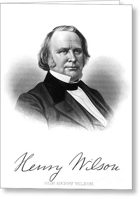 Autograph Greeting Cards - Henry Wilson (1812-1875) Greeting Card by Granger