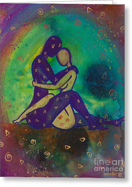 Paper Paintings Greeting Cards - Her Loves Embrace Greeting Card by Ilisa  Millermoon
