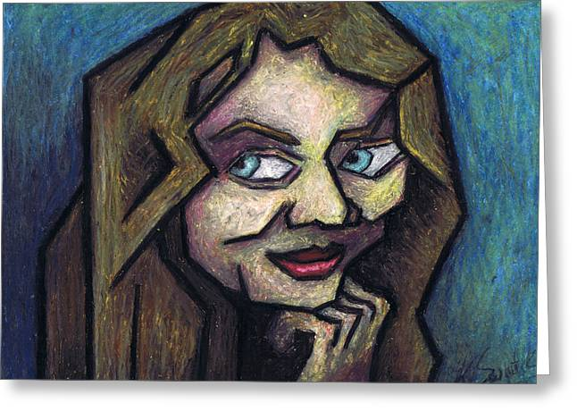 Cubist Pastels Greeting Cards - Her Smile Greeting Card by Kamil Swiatek