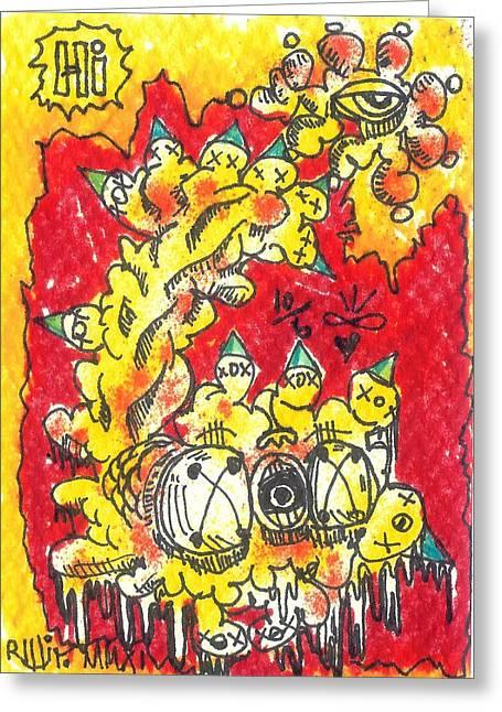 Raw Drawings Greeting Cards - Hi Greeting Card by Robert Wolverton Jr