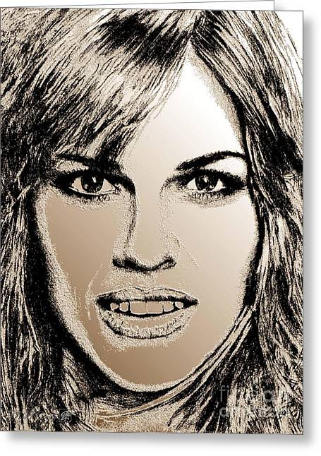 Award Mixed Media Greeting Cards - Hilary Swank in 2007 Greeting Card by J McCombie