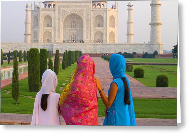 Hindu women at the Taj Mahal Greeting Card by Bill Bachmann - Printscapes