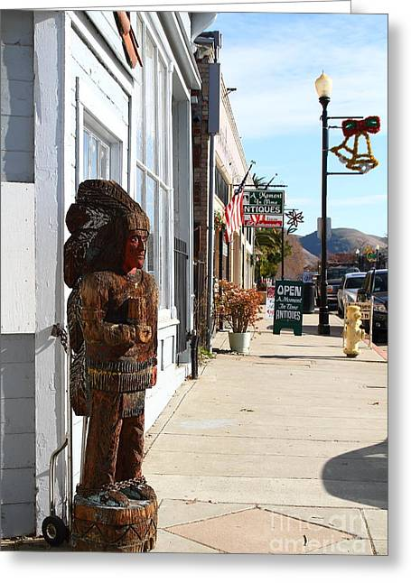 Devils Workshop And Mercantile Greeting Cards - Historic Niles District in California Near Fremont . Indian Statue at The Devils Workshop and Mercan Greeting Card by Wingsdomain Art and Photography