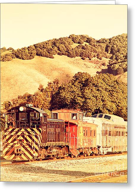 Sante Fe Caboose Greeting Cards - Historic Niles Trains in California . Old Southern Pacific Locomotive and Sante Fe Caboose . 7D10819 Greeting Card by Wingsdomain Art and Photography