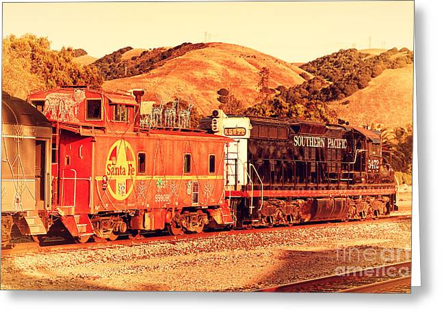 Sante Fe Caboose Greeting Cards - Historic Niles Trains in California . Old Southern Pacific Locomotive and Sante Fe Caboose . 7D10843 Greeting Card by Wingsdomain Art and Photography