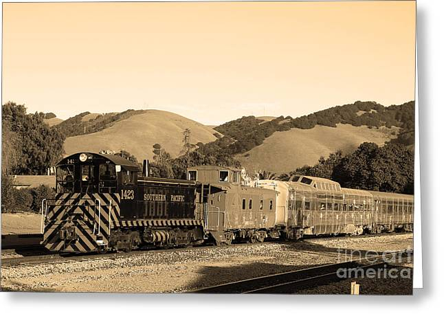 Old Cabooses Greeting Cards - Historic Niles Trains in California.Southern Pacific Locomotive and Sante Fe Caboose.7D10819.sepia Greeting Card by Wingsdomain Art and Photography