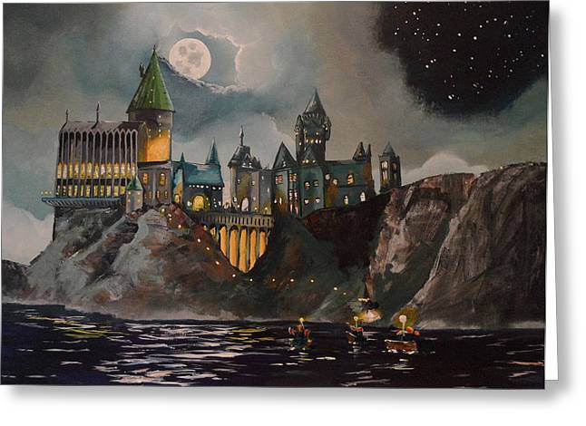 Night Paintings Greeting Cards - Hogwarts Castle Greeting Card by Tim Loughner