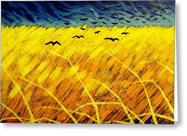 Crows Greeting Cards Greeting Cards - Homage To Vincent Greeting Card by John  Nolan