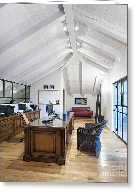 Workspace Greeting Cards - Home Office in an Attic Greeting Card by Noam Armonn