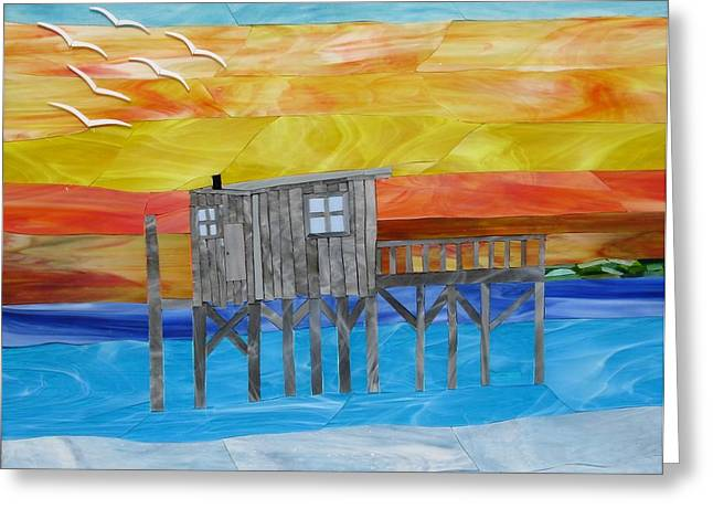 Sunset Glass Art Greeting Cards - Honeymoon Sunset Greeting Card by Charles McDonell
