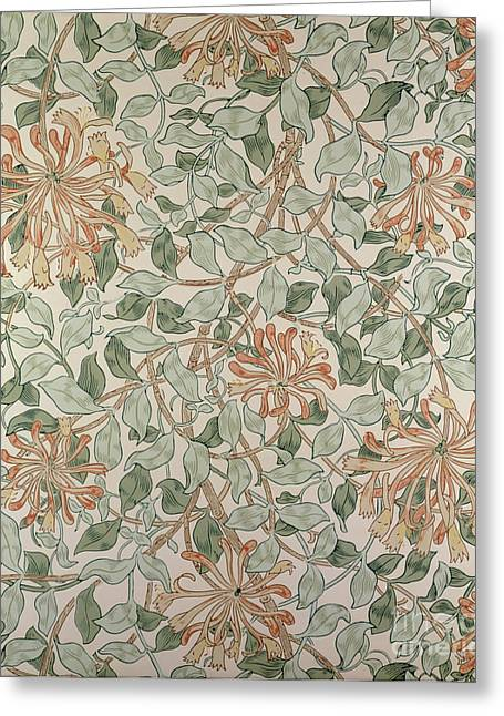 Textiles Tapestries - Textiles Greeting Cards - Honeysuckle Design Greeting Card by William Morris