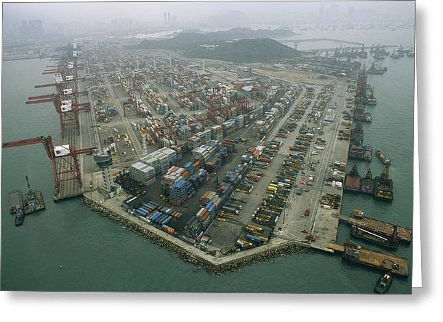 Hong Kong Cargo Terminal, One Greeting Card by Justin Guariglia