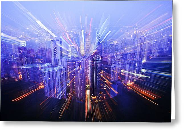 Unique View Greeting Cards - Hong Kong Lights Greeting Card by Ray Laskowitz - Printscapes