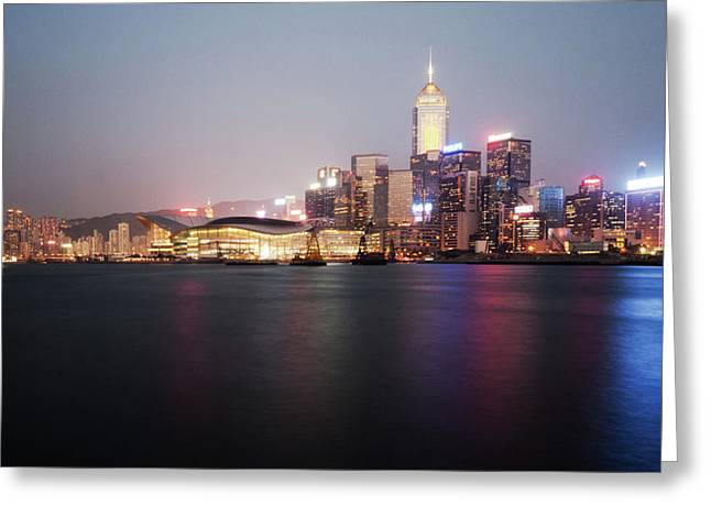 Night Scenes Greeting Cards - Hong Kong night scene Greeting Card by Kam Chuen Dung