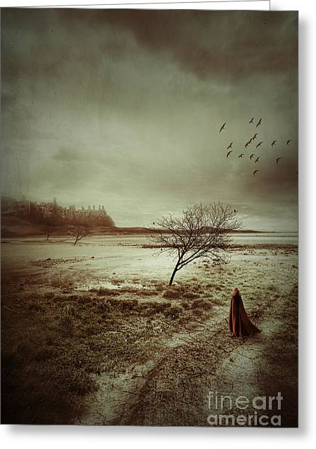 Forboding Greeting Cards - Hooded figure walking in bleak landscape Greeting Card by Sandra Cunningham