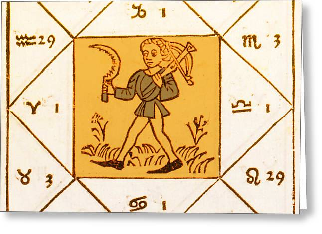 Horoscope Types, Engel, 1488 Greeting Card by Science Source