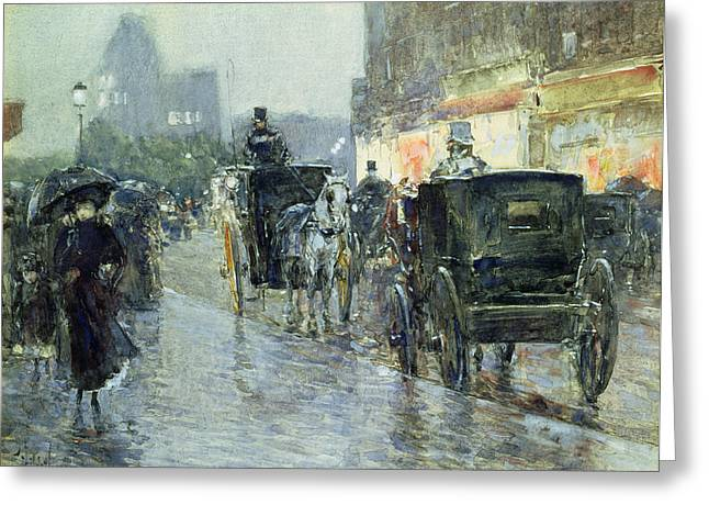 Umbrellas Greeting Cards - Horse Drawn Cabs at Evening in New York Greeting Card by Childe Hassam