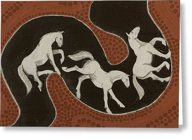 Iron Oxide Greeting Cards - Horse dreams Greeting Card by Sophy White