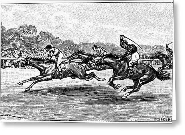 Ambition Greeting Cards - Horse Racing, 1900 Greeting Card by Granger