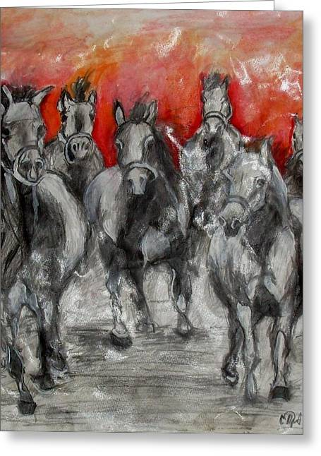 Vatercolour Greeting Cards - Horse Racing Greeting Card by Sanja  Prsic