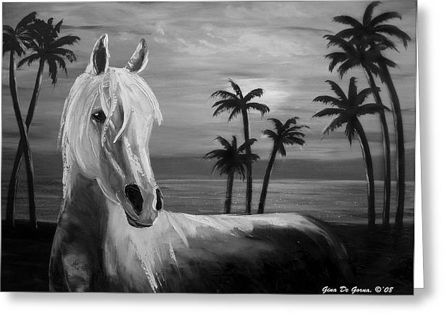 Sea Horse Greeting Cards - Horses in Paradise  TELL ME YOUR DREAM Greeting Card by Gina De Gorna