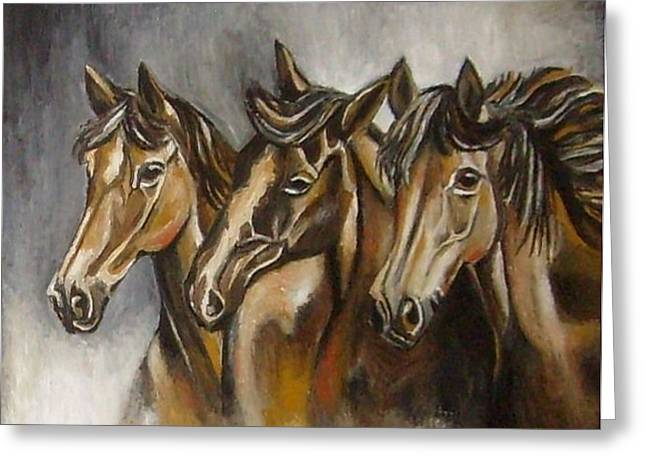 Oil On Cardboard Greeting Cards - Horses Greeting Card by Sanja  Prsic