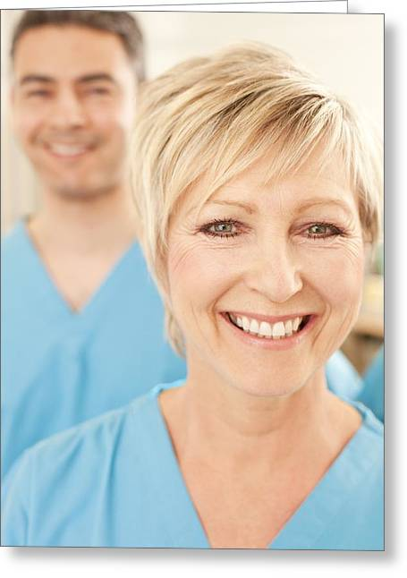 50-59 Years Greeting Cards - Hospital Staff Greeting Card by