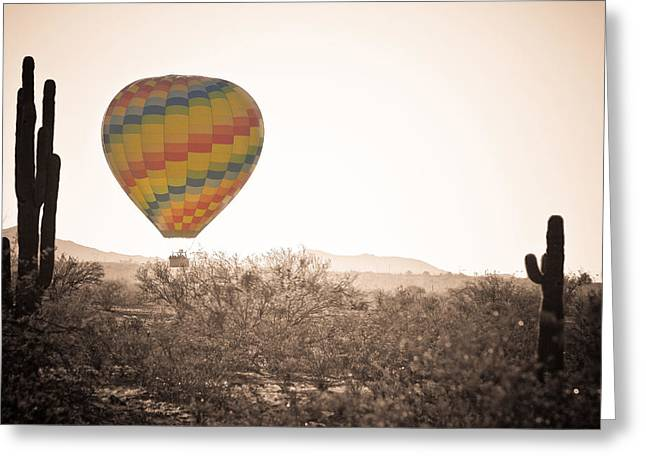 Phot Greeting Cards - Hot Air Balloon On the Arizona Sonoran Desert In BW  Greeting Card by James BO  Insogna