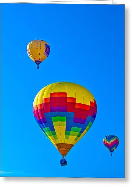 Three Hot Air Balloons Greeting Cards - Hot Air Balloons Greeting Card by Richard Marquardt