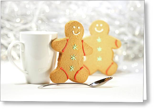 Hot holiday drink with gingerbread cookies  Greeting Card by Sandra Cunningham