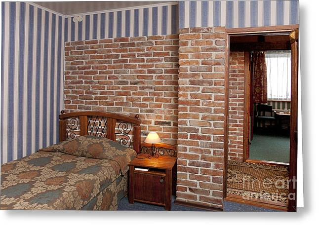 Bedspread Greeting Cards - Hotel Bedroom Interior With Brick Walls Greeting Card by Jaak Nilson