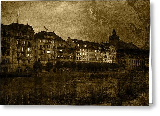 Luzern Greeting Cards - Hotel Schiff Greeting Card by Ron Jones