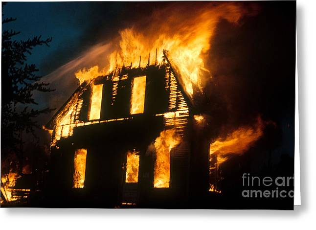 House Fires Greeting Cards - House On Fire Greeting Card by Photo Researchers, Inc.