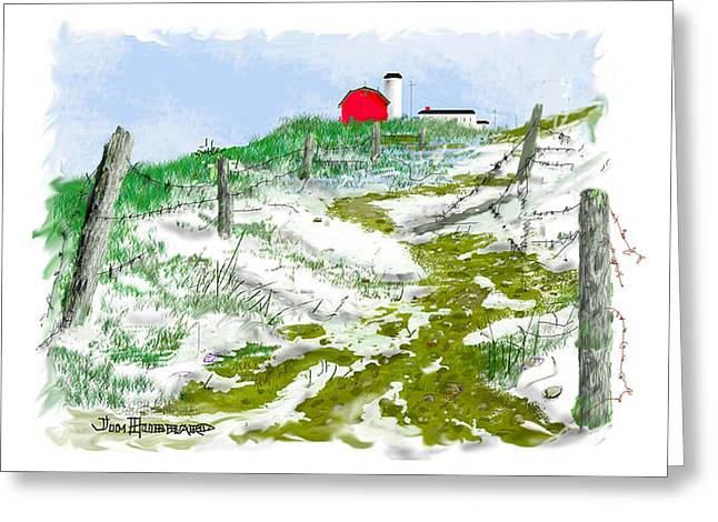 Photoshop Drawings Greeting Cards - House on the Hill-Winter Greeting Card by Jim Hubbard