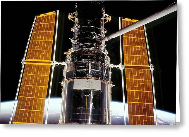 Hubble Space Telescope Views Greeting Cards - Hubble Space Telescope Greeting Card by Stocktrek Images
