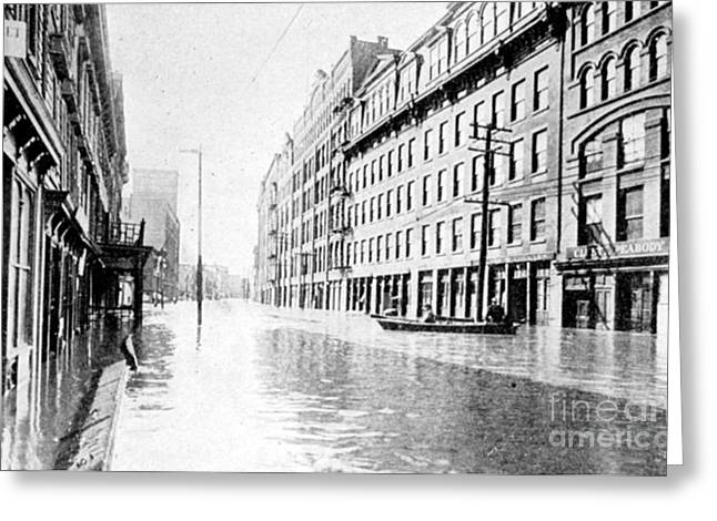 River Flooding Greeting Cards - Hudson River Flood, 1913 Greeting Card by Science Source