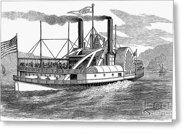 Steamboat Greeting Cards - Hudson River Steamboat Greeting Card by Granger