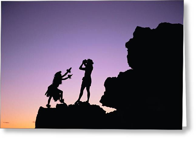 Hula Greeting Cards - Hula Silhouette Greeting Card by William Waterfall - Printscapes